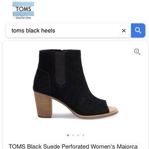 Toms Suede perforated Majorca peep toe booties